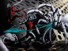 Spidey and Lohr fight spiders by alfred183