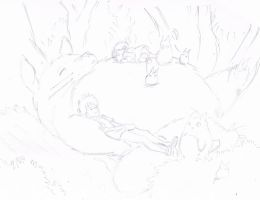 My Neighbour Totoro Lineart~ by samui153