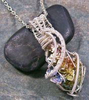 Bismuth Crystal and Silver Wire-Wrapped Pendant by HeatherJordanJewelry