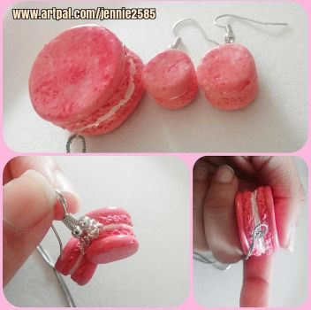 Macaron Earring and Necklace Set! by emokitten687