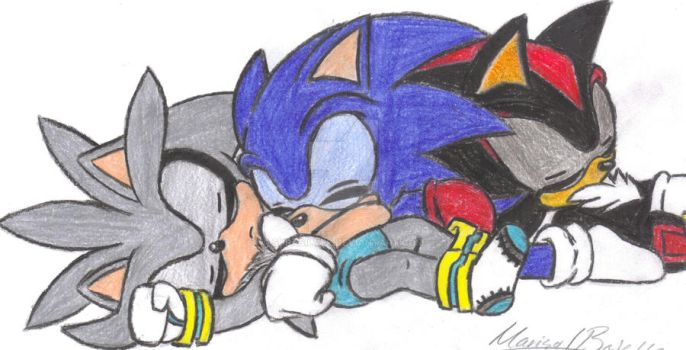Baby Sonic, Shadow, and Silver by SupaSilver