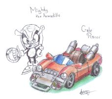 Mighty the Armadillo, Gale Racer concept by CyberMaroon
