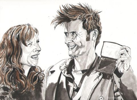 Inktober 10th Doctor and Donna by changewinds