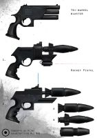Rocket and 3-barrel pistols by PLing