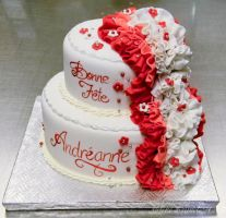 Red ruffles cake by buttercreamfantasies