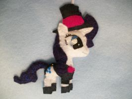 Rarity in a Tuxedo Handmade Mini Pony Ornament by grandmoonma