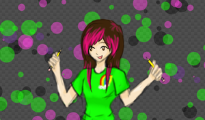 Neon Pencil Girl by tintedslightly