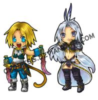 Zidane and Kuja Keychain by chobitsG