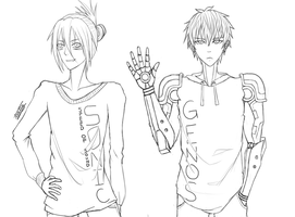 Sonic And Genos wip by tiattg