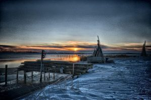 Winter sunset over a fjord HDR test by Oddersnude