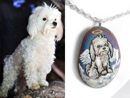 Custom Maltese Pendant Necklace by sobeyondthis