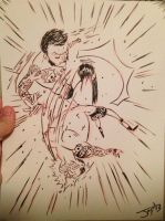 CM Punk vs Randy Orton sketch! by JonDavidGuerra