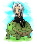 Sephiroth riding a turtle by Koklico