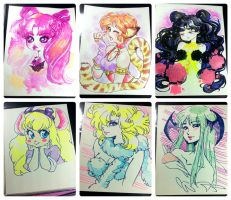 Watercolor and marker pieces by zambicandy