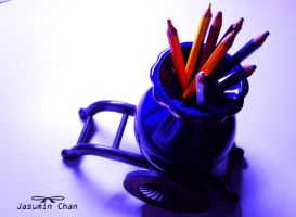 side view colorful pencil vase by jasuminchan10