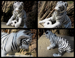 White Tiger And Soccer Ball Sculpture by WildSpiritWolf