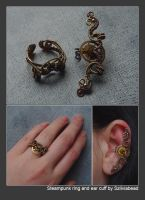 Steampunk ear cuff and ring by bodaszilvia