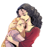 Rapunzel and Mother Gothel by cosom