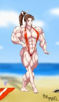 Mai Shiranui at the beach by MATL