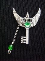 Flying Silver and Green Key by Dracona