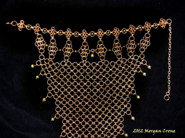 Bronze and Pearl Chainmaille Necklace Close-Up by MorganCrone
