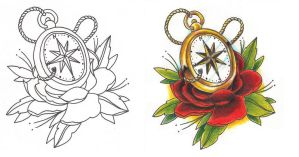 Freebies Compass Tattoo Design by TattooSavage