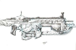 Gears of War Lancer rifle by dogsoldierr