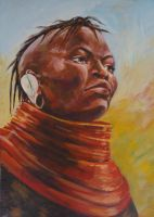 Turkana woman (in colour) by kenpaint