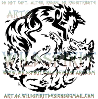 Circling Elemental Fox And Wolf Tribal Design by WildSpiritWolf