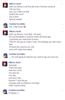 An OOC chat between Mikoto and Fushimi (?) by Dame-chin