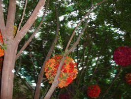 Flower Ball decor on trees by MarinaMoon