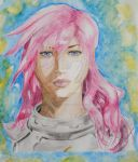 Lightning- Final Fantasy- Watercolor by Artistic-Imagery
