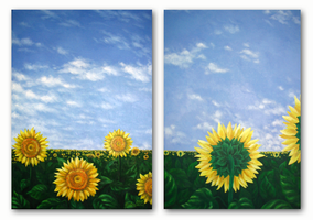 """Sky and sunflowers"", oil by oxanaart"