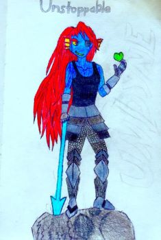 Unstoppable Undyne!!! (Art trade) by Bolt-XZ-FTW