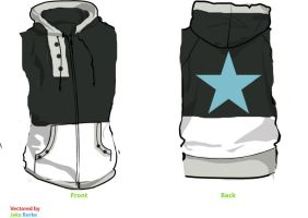 Black Star Sleeveless Fleece Cosplay Hoodie by Weeaboo-Warehouse