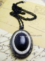 Blue goldstone locket pendant by AlchemianShop
