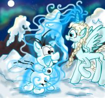 MLP Frozen: Elsa creating Olaf by seriousdog