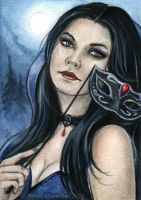 Behind the Mask ACEO by JannaFairyArt