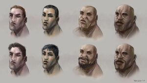 Male Heads by TedKimArt