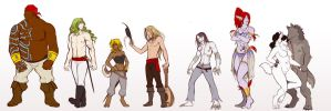 OCs Height and Build - Lineup by White-Mantis