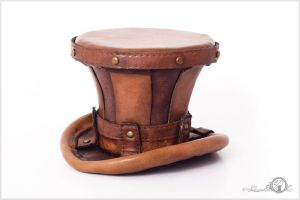 Two Toned Steampunk Mini Leather Top Hat by Elorhan