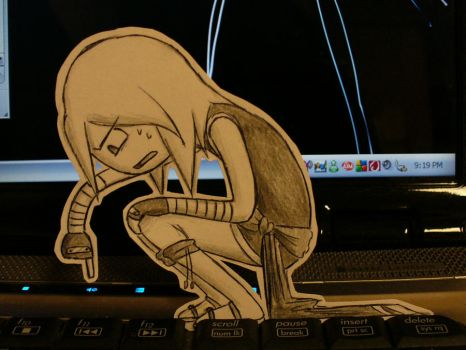 Paper Spheira and the Keyboard by pettyartist