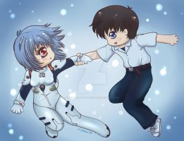Rei and Shinji by moonshadebutterfly