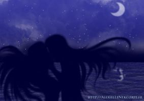 The moon and the waves... by AlexielLeNeko