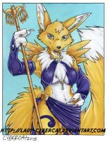 Renamon Warrior Watercolor by lady-cybercat
