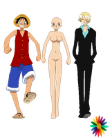 Luffy and Sanji Base by RainDrops212