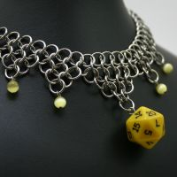 Yellow D20 Dice Necklace by Utopia-Armoury