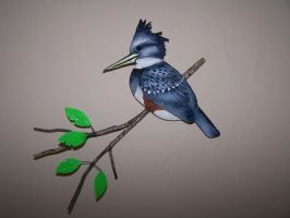 Kingfisher on Branch by JP-3D