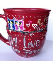 Owl love you forever - handpainted mug by InkyDreamz