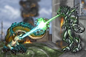 Hosszilla vs MechaAnuwolf by Anuwolf